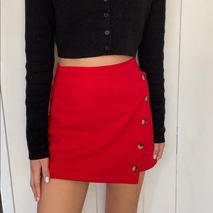 Red button down skirt